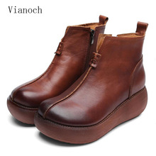Fashion New Autumn Ankle Boots Women Casual Genuine Leather Platform Vintage Shoes Spring Woman wo1808108