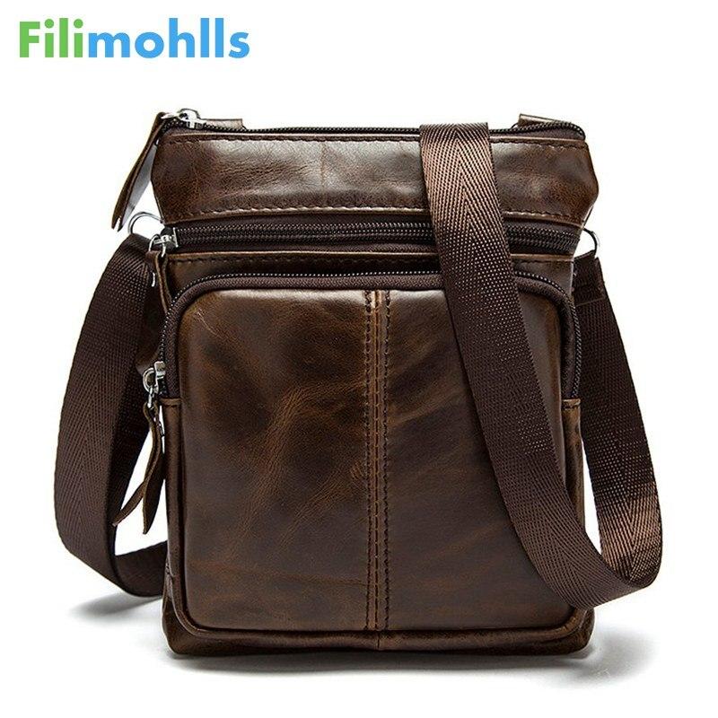 New Casual Leather Men Bag Small Coin Purse Shoulder Bag Vintage Design Zipper Style Messenger