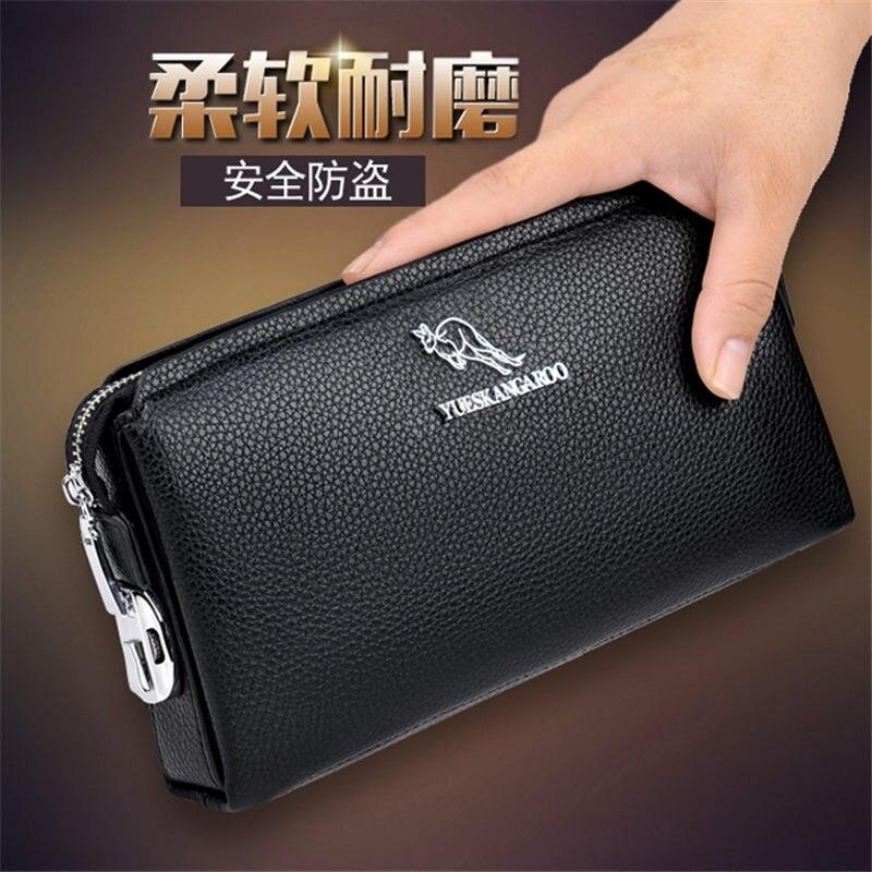YUESKANGAROO famous brand men s clutch leather wallet casual long mobile wallet security lock password men