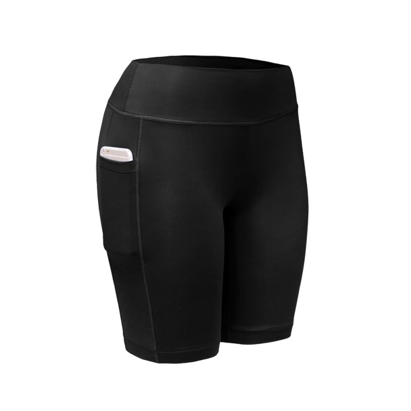 Femme Shorts Sports Wear Quick-drying Pocket Yoga Gym Women Swimming Suit Sexy Spandex Fitness Running High Waist Short Legging