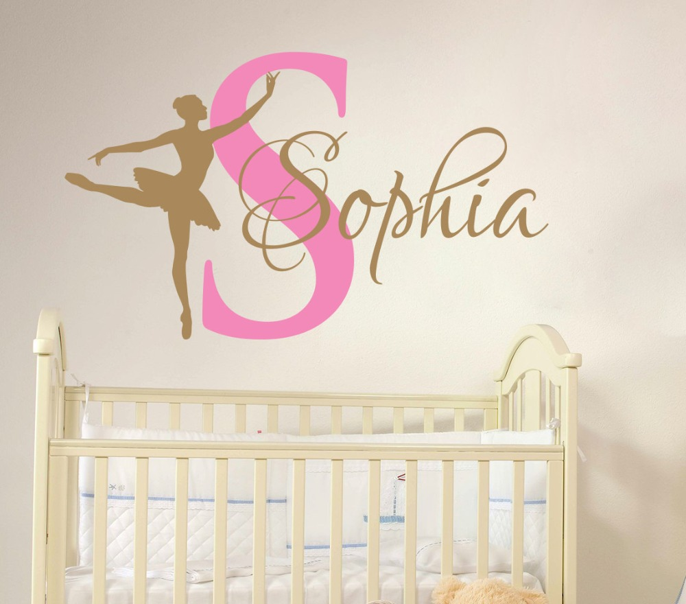 Ballerina dancing custom girl name wall sticker ballet dance vinyl ballerina dancing custom girl name wall sticker ballet dance vinyl decal personalized name girls living room wall mural m 110 in wall stickers from home amipublicfo Gallery