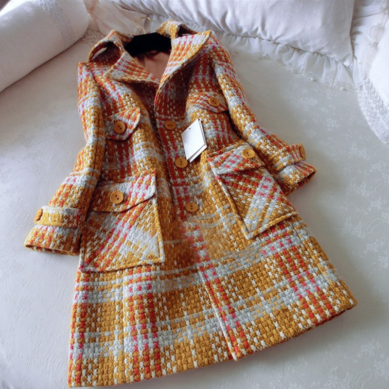 Fashion Ladies Lapel Tuxedo Winter Long Lattice Wool Coats Jackets