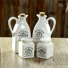4 STÜCKE Porzellan Keramik Essig Öl Dispenser Pfeffer Salzmühle Küche Abendessen Rollen Menage Porzellan Geschirr
