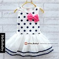 Free shipping 2016 New Fashion Baby Girls'summer dress Candy colored bow girls vest dress A031