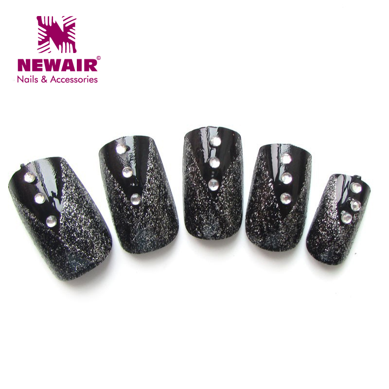 New brand classic short nail tips black with glitter design fake ...