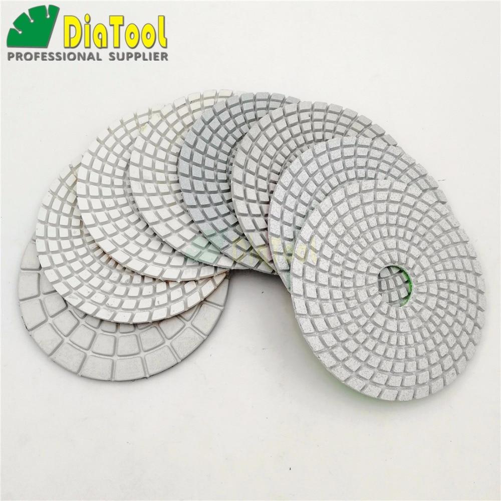 """DIATOOL 8ks / sada 4 """"diamantové flexibilní mokré leštící podložky pro kámen, keramiku, dlaždice, brusné kotouče na kámen, bílý tmel"""