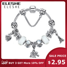 ELESHE 2019 Vintage Silver Murano Glass Beads Bracelet For Women Animal Owl Charms Bracelets&Bangles DIY Heart Pulseiras Jewelry(China)