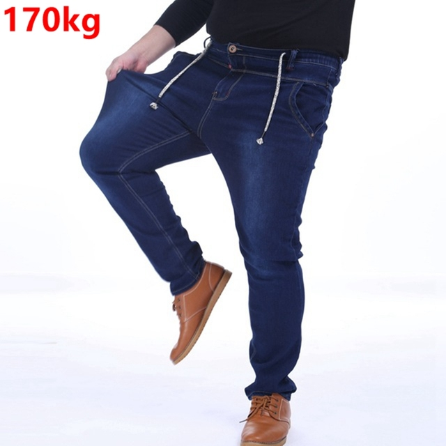 f744b19c4ec Plus size male winter jeans pants 150kg 8XL 7XL 6XL thick trousers high  elastic waist pants thickening fat