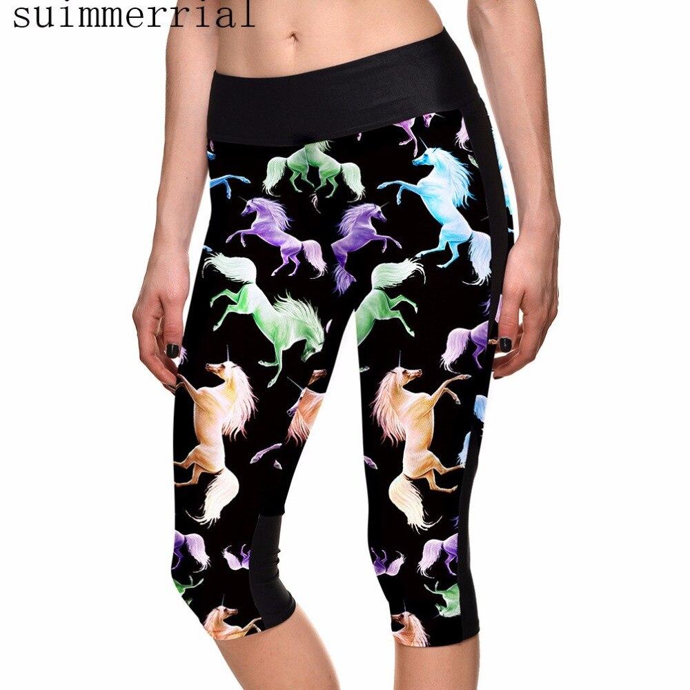 Women Original Design Vintage Female Horse Printed Pants Capris With Pocket High Waist Trousers