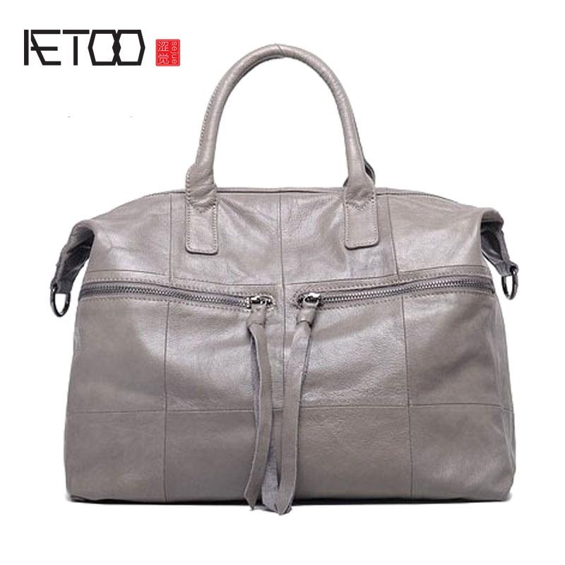 AETOO New ladies big bag female simple leather handbag shoulder bag female large capacity satcher ladies handbag