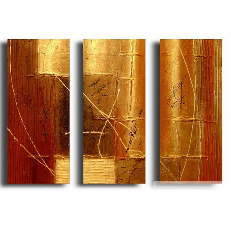 Buy 3 panel gold painting wall art for 3 panel painting