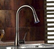 Черный смеситель для кухни масло матовый черный масло втирают Бронзовый кухонная раковина краны Pull Out распылитель воды, смесители черный никель кран