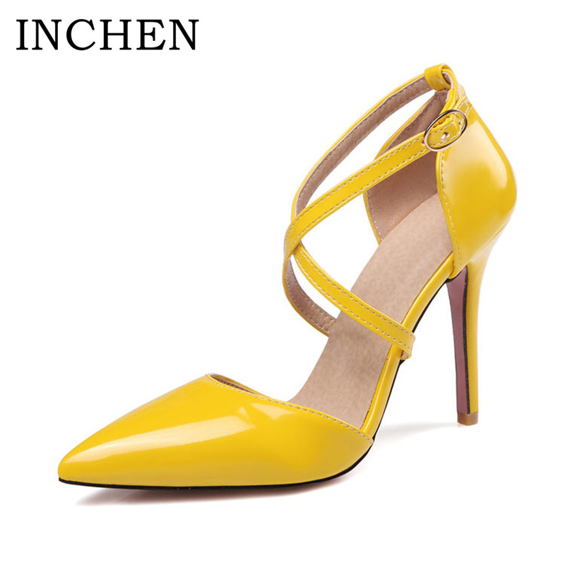 INCHEN Shoes Super High Heels Ladies Pumps Pointed Toe Thin Heels Pumps Classic Yellow Plus Size Sexy Party Wedding Shoes Women 15cm red black super women high heels pumps zipper sexy ladies party shoes thin heels platform pumps plus size 40 zapatos mujer