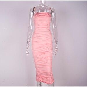 Image 4 - NewAsia vestido rosa sexi de doble capa para mujer, vestido de noche apretado largo, vestido de fiesta ceñido Vintage fruncido por debajo de la rodilla 2019