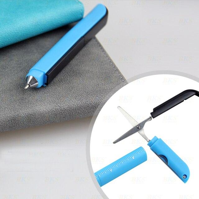 Creative Multifunctional Ballpoint Pen Folding Scissors Ruler Knife Ball Point Pen Canetas Students School Supplies Stylo Rigolo 5