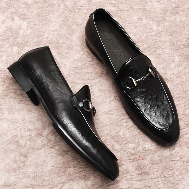 2a014893a16 Genuine leather Loafers for men Flat heel Horsebit Leisure Breathable  Driving Oxfords