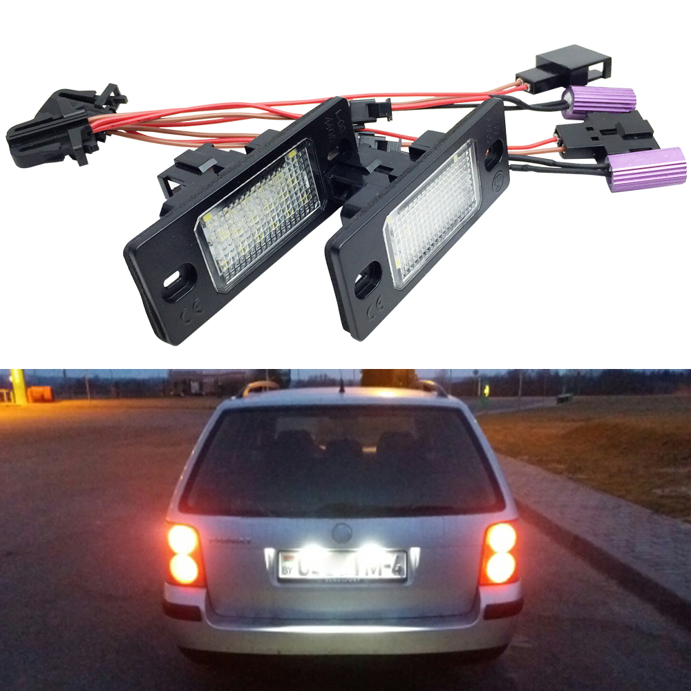 1 Pair Canbus Error Free White 18SMD LED Number License Plate Lights For VW Touareg Tiguan Golf 5 Passat B5 5D Touring car for porsche smd3528 number led license plate lights for vw golf gti 5 6 passat scirocco phaeton new beetle cc c 5