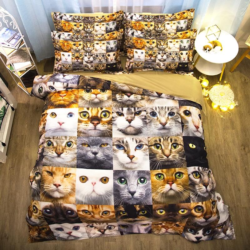 2018 nouvelle literie mignon chat literie ensemble 3d linge de lit housse de couette ensembles taies d'oreiller complet/jumeau/reine double taille unique 3D literie