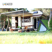 Laeacco Forest Recreational Vehicle Tent Camping Portrait Seamless Photographic Background Photography Backdrop For Photo Studio цена