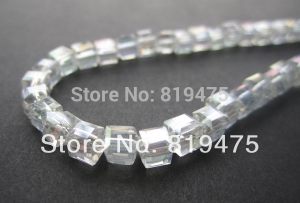 4mm  Glass crystal beads Loose beads Cube  Square shape Clear AB color  for jewelry making  wholesale and retail