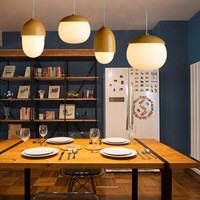 Nordic imitation wood nut E27 led pendant lights for coffee house creative bedroom restaurant bar hanglamp free shipping 88