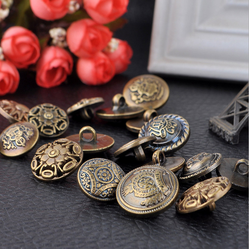 18 22mm Mixed Style Vintage Resin Buttons Botones Fit DIY Sewing Or Scrapbooking Brass Color 100PCS 4 074 in Buttons from Home Garden