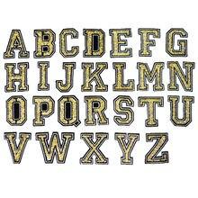 Стразы из желтого золота с алфавитом 26 букв с серебряными краями, Пришивные железные нашивки, вышитые значки для одежды, самодельные Аппликации, Декор