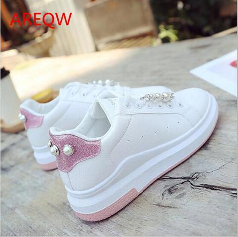 Free shipping Autumn white pearl small white shoe female thick bottom breathable female student shoe casual shoes flat shoes free shipping 2017 new arival hollowed out peep toe canvas shoes fashion flat bottom denim shoe ginger green black white