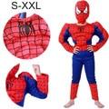 2017 S-XXL Мышц паук костюм дети ребенок мальчик девочка хеллоуин костюм человек-паук маска бал-Маскарад партии clohing