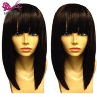 EAYON боб парик 13x6 короткие Синтетические волосы на кружеве парики человеческих волос с челкой для Для женщин предварительно сорвал Синтетич