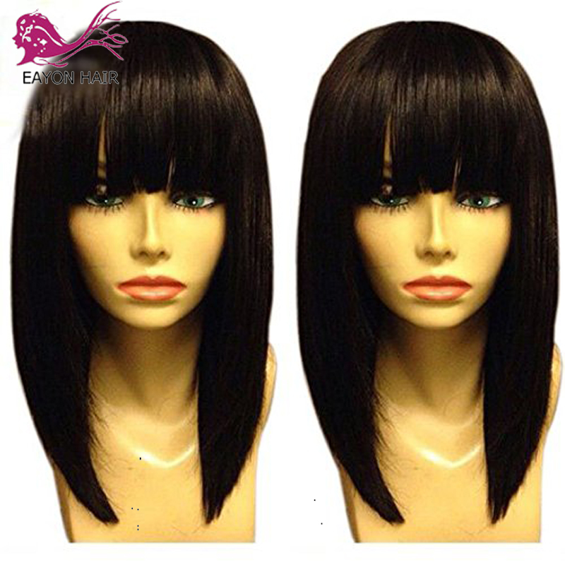 EAYON Bob Wig 13x6 Short Lace Front Human Hair Wigs With Bangs For Women Pre Plucked Lace Front Straight Brazilian Remy Hair