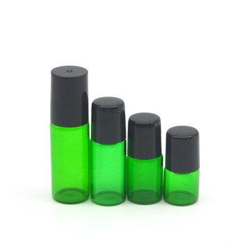 100pcs Perfume Sample 1ml 2ml 3ml 5ml Empty Green Glass Roller Bottle Essential Oil Bottle Roll-On Bottle Free Shipping