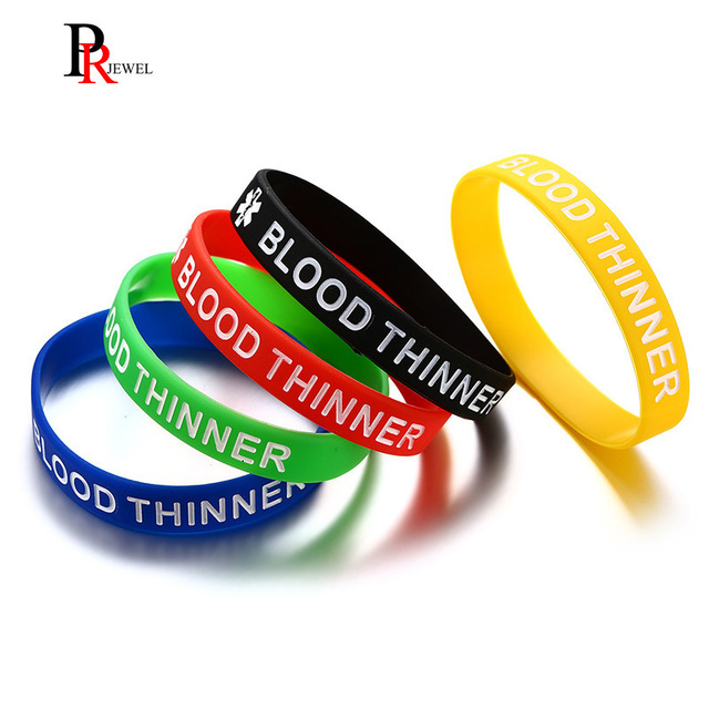 Blood Thinner Bracelets Silicone Medical Alert Id Wristbands Identification Bracelet Set Of 5 Colors