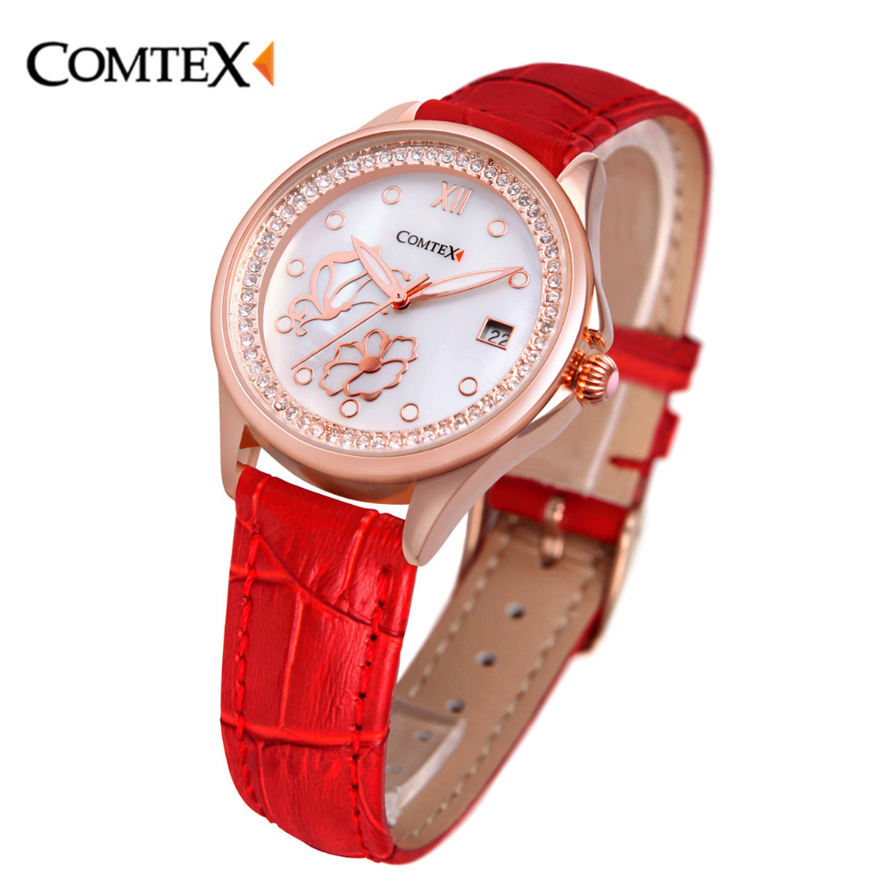 Comtex Brand Elegant Women Watches Casual Red Leather Fashion Shell Dial Face Gold Silver Case Quartz Watch With Calendar fashion leather watches for women analog watches elegant casual major wristwatch clock small dial mini hot sale wholesale