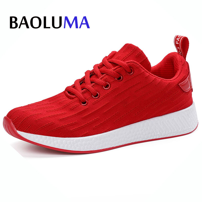 Baoluma Lightweight Brand Designer Red Woman Shoes Platform Loafers Comfortable Women Breathable Lace Flats Casual Lady Shoes fashion woman casual shoes wild lace up loafers women flats comfortable footwear woman shoes breathable female shoes