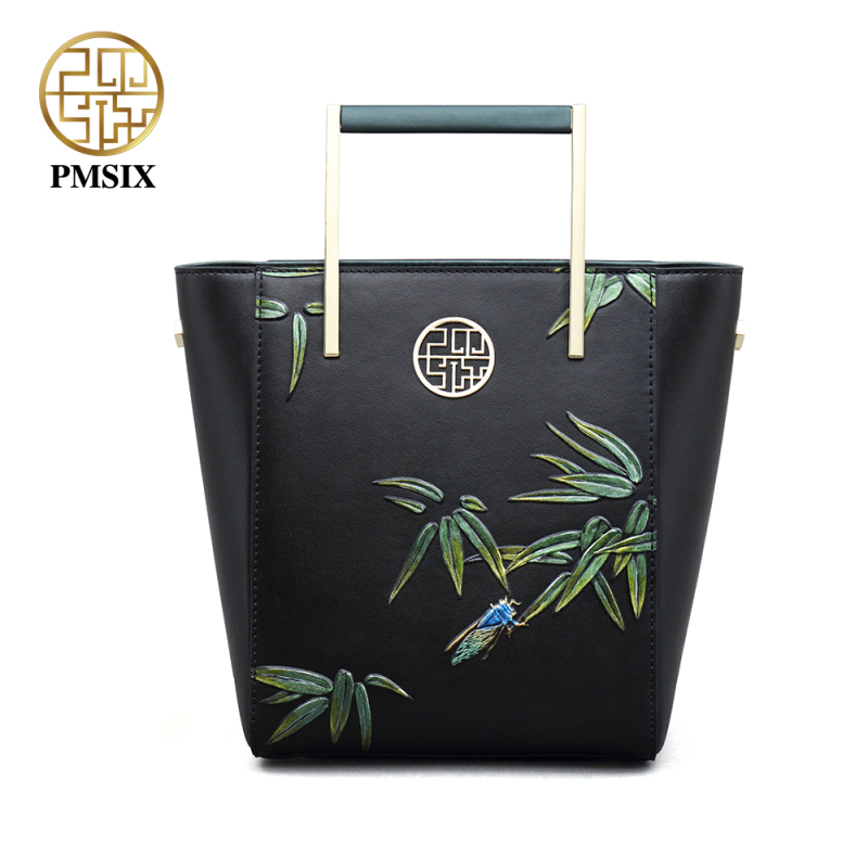 PMSIX豪華な女性のバッグハード牛革女性のバッグ新しいファッション社交界の高品質ジッパーロングストラップエンボスハンドバッグ