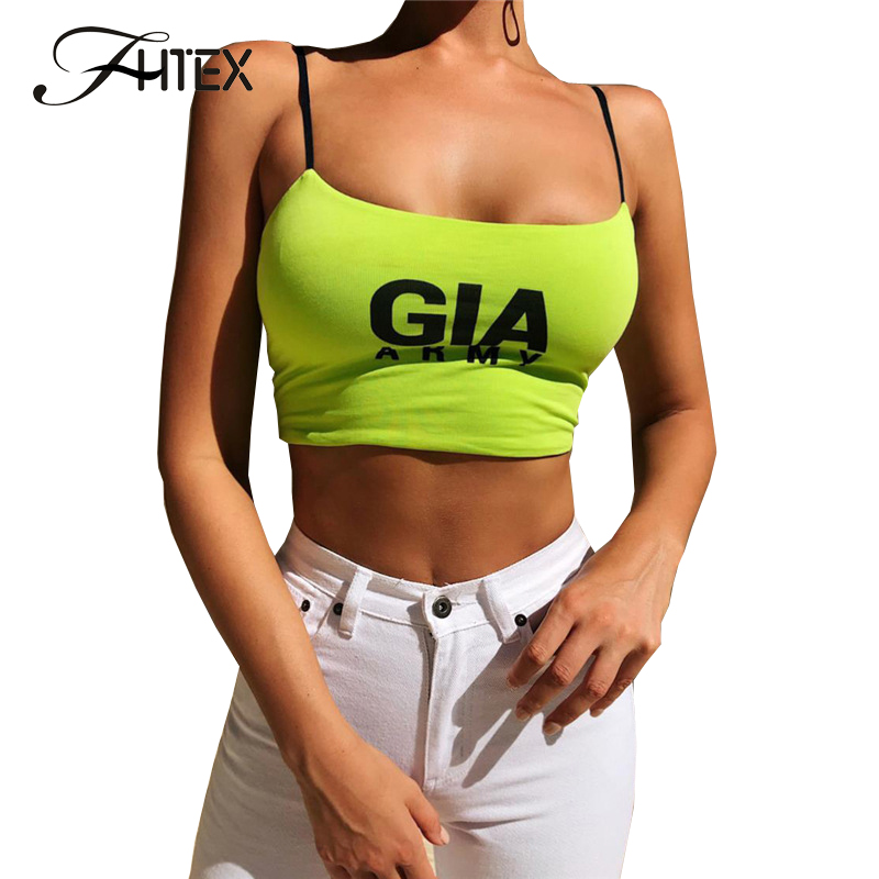 FHTEX Women Fashion Letter Print Summer   Tank   Camis Sexy Spaghetti Strap Cotton Crop   Top   Slim Casual   Tank     Top   Vest Camisoles