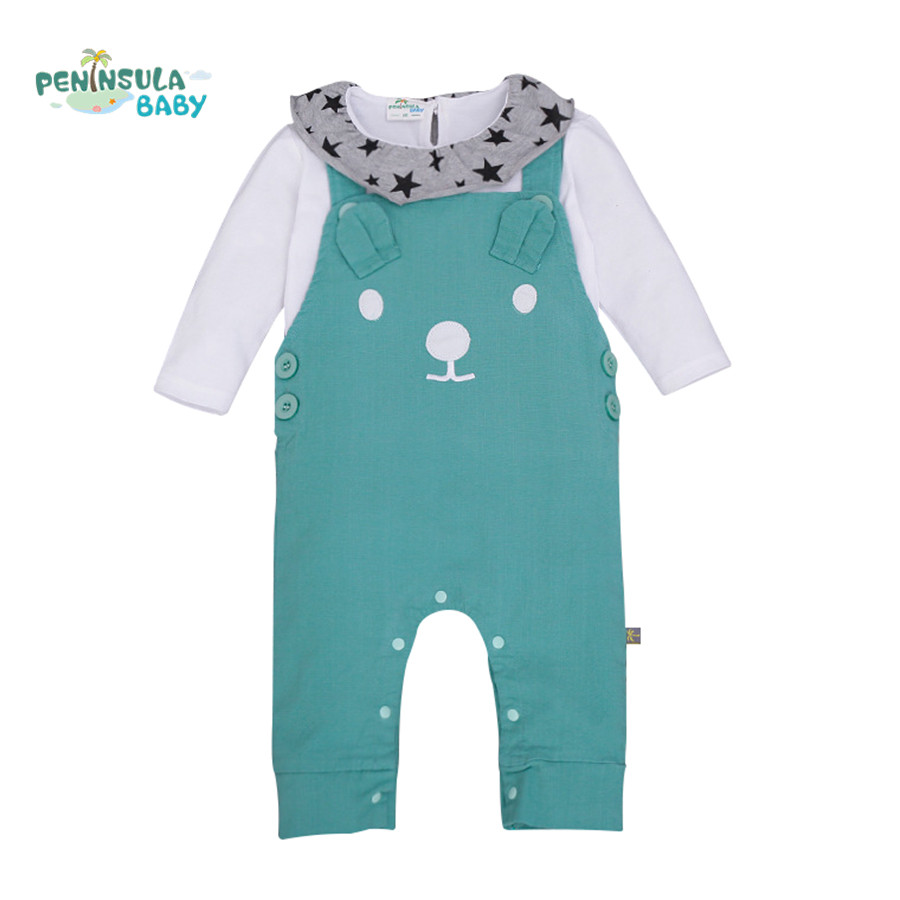 Newborn Baby Cartoon Bear Blouse T-Shirt+Overalls Rompers Trousers Kids Clothing Sets Infant Jumpsuits Two Pieces Suits