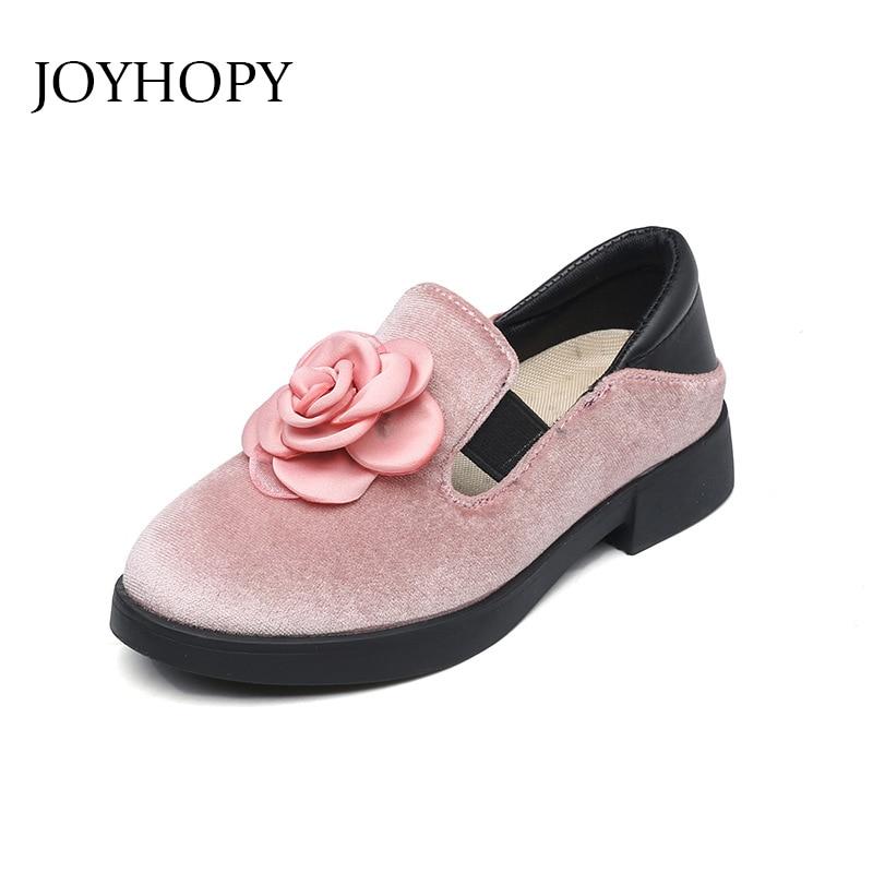JOYHOPY Children Party Leather Shoes Girls Flower Kids Shoes For Girls Single Shoes Dance Dress shoe Red Black Pink