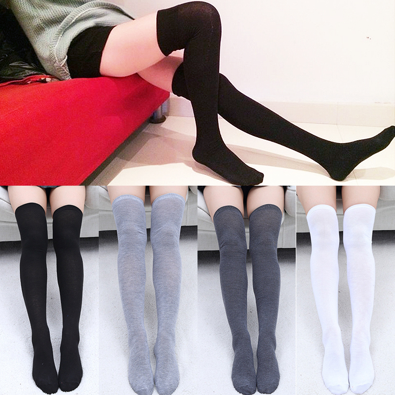 2018 New Sexy Stocking 1Pair Women Socks Grey Black Thigh High Warm Solid Stockings Cotton Over The Knee Socks Long Stockings