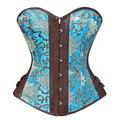 Steampunk ropa talles para las mujeres sexy corset bustier tops tops xxl de la ropa interior del corsé de overbust de corsé estilo vintage azul
