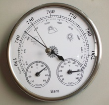 Buy online Hight Quality Aneroid 128mm 3 in 1 Barometer With Thermometer and Hygrometer Humidity Silver Outdoor Fishing