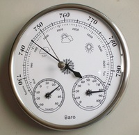 Hight Quality Aneroid 128mm 3 in 1 Barometer With Thermometer and Hygrometer Humidity Silver Outdoor Fishing