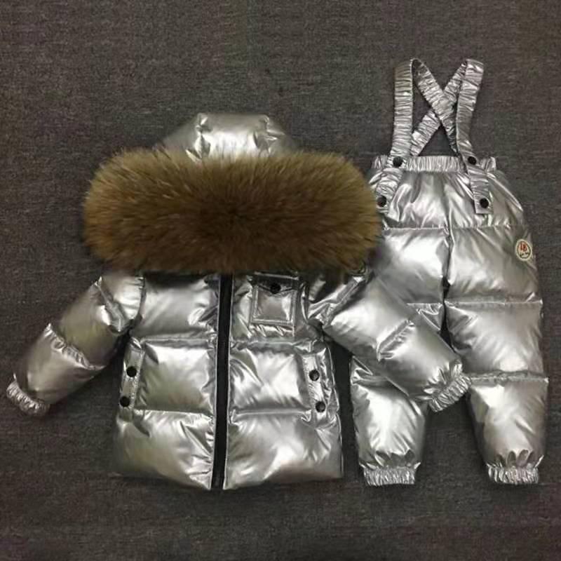 Hiver russe vers le bas costume Super chaud enfants costumes d'hiver garçons fille canard vers le bas veste + salopette 2 pièces ensemble enfants neige porter ws218