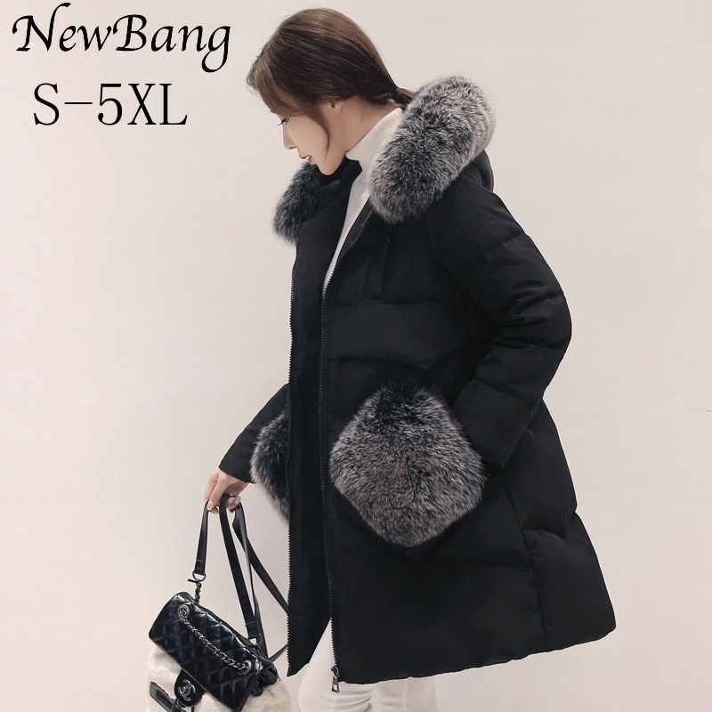 NewBang 4XL 5XL Women Long Down Jacket With Fur Hood Pocket Real Fox Fur Collar Coat Duck Down Jacket Female Winter Coat Parkas high quality real fur female winter in the new middle aged down jacket women white duck down sundae feather thick coat l 5xl