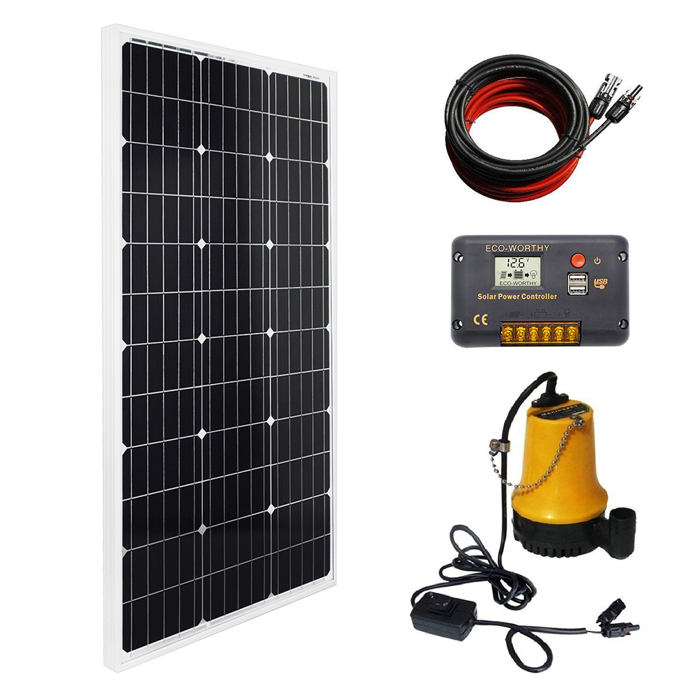 Solar Water Pump Kit 100 Watts Mono Solar Panel 12V Water Pump for Pond Fountain Water