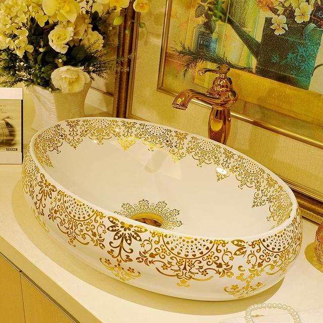 Gold Pattern Big Oval Basin Washbasin Jingdezhen Art Ceramic Wash Basin Vessel  Sinks Countertop Bathroom Sinks