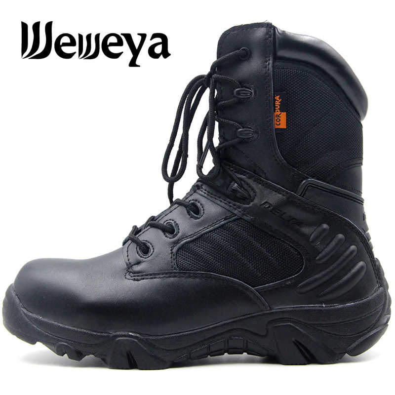 New Hiking Shoes Professional Outdoor Tactical Boots Large Size 39-47 Camping Climbing Rubber Sole Leather Men DELTA Sneakers