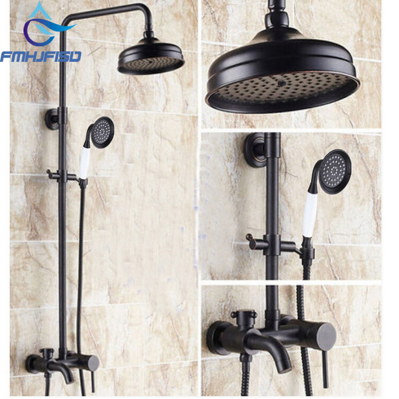 Free Shipping Wholesale And Retail Promotion Luxury Oil Rubbed Bronze Bathroom Shower Faucet Set Tub mixer Tap Shower Column free shipping wholesale and retail free shipping art carved floor drain oil rubbed bronze shower ground drain cover