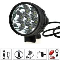 9000 Lumens 7T6 Bicicleta Lanterna Farol 7 xCree XML T6 Led de Bicicleta luz Ciclismo Capacete Lâmpada + 8.4 V Battery Pack 18650 + carregador|flashlight headlamp|helmet lamp|led headlamp -